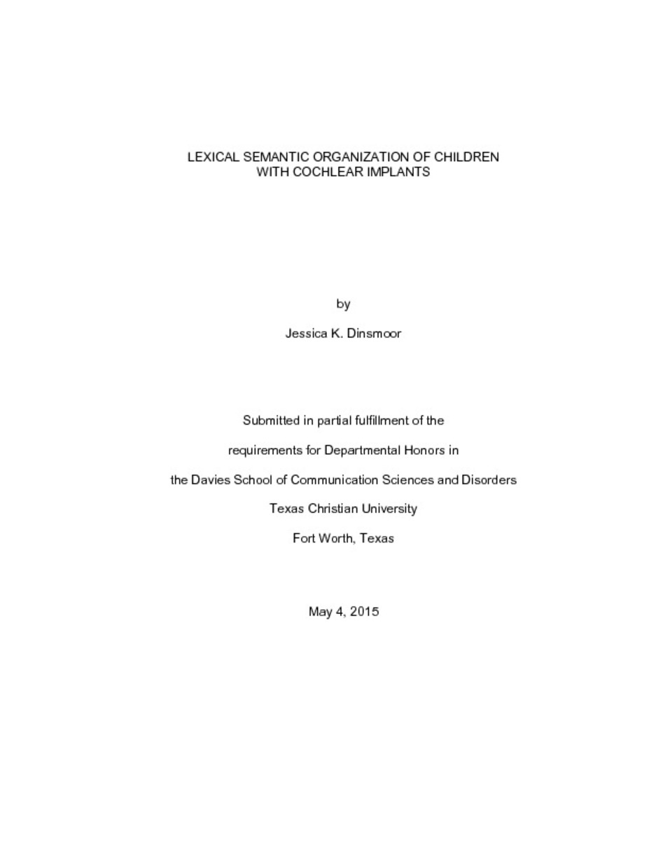 Cochlear implant students dissertation