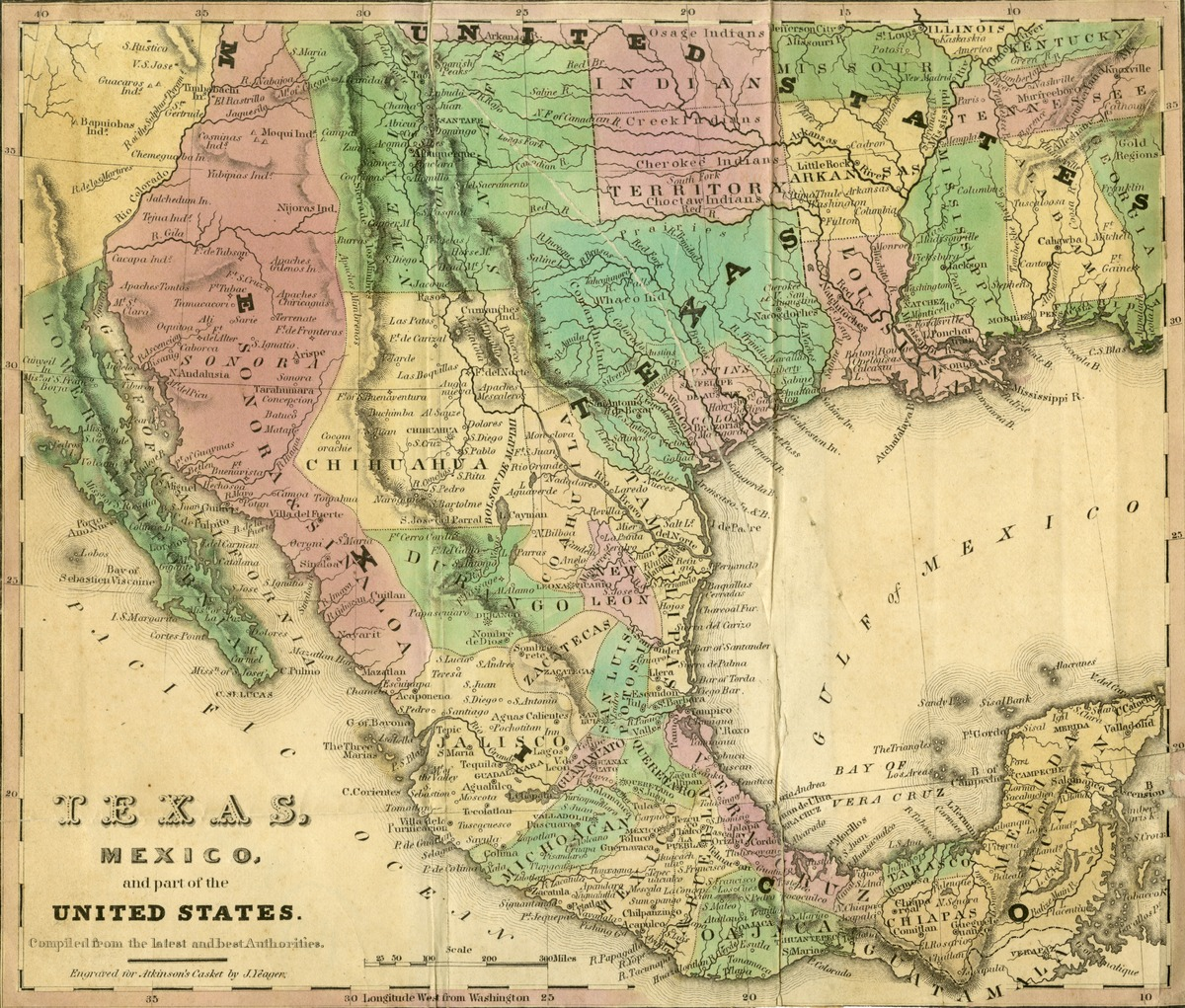 Texas, Mexico, and part of the United States. Compiled from the latest and best authorities. Engraved for Atkinson's Casket by J. Yeager