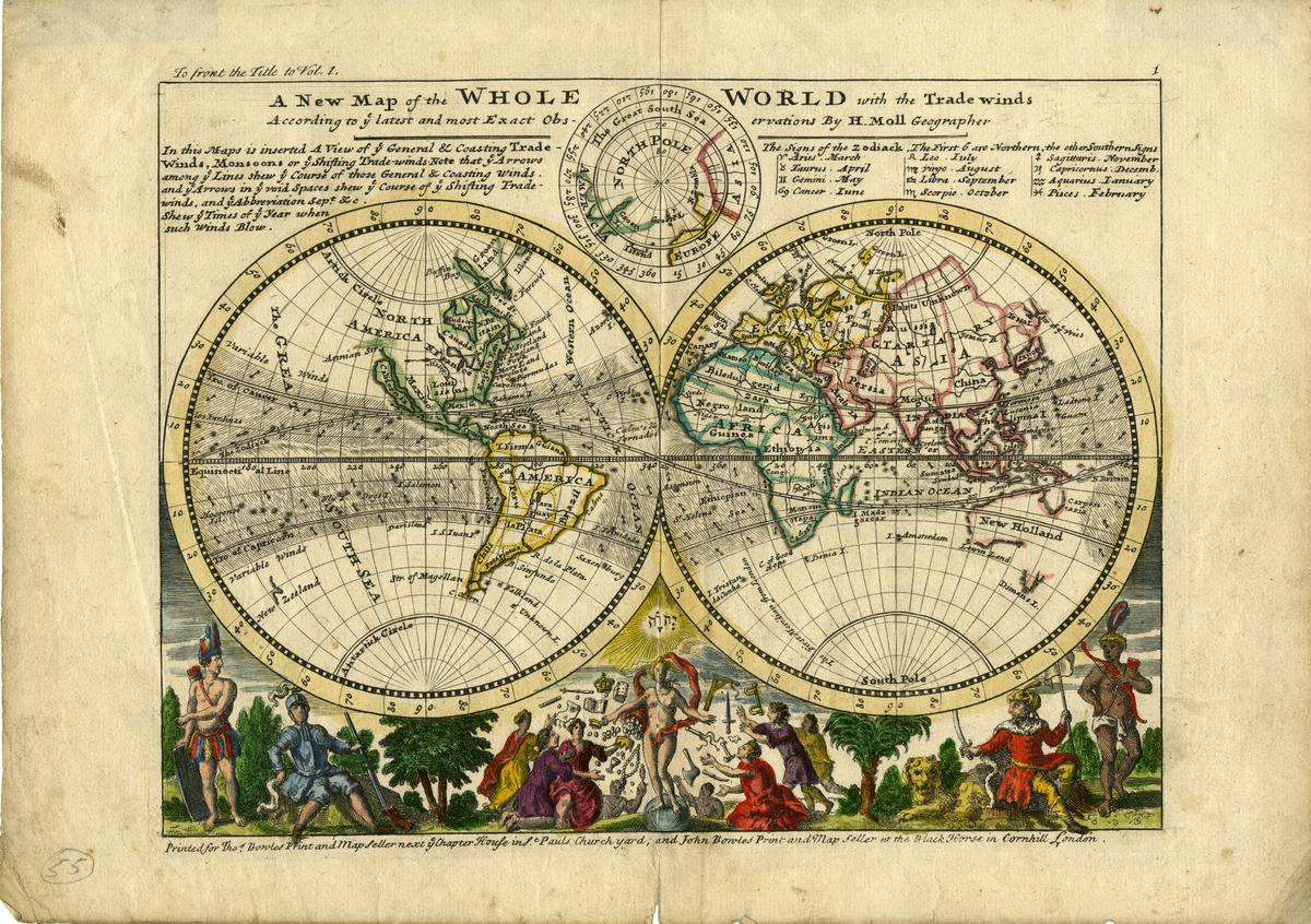 A new map of the whole world with the trade winds
