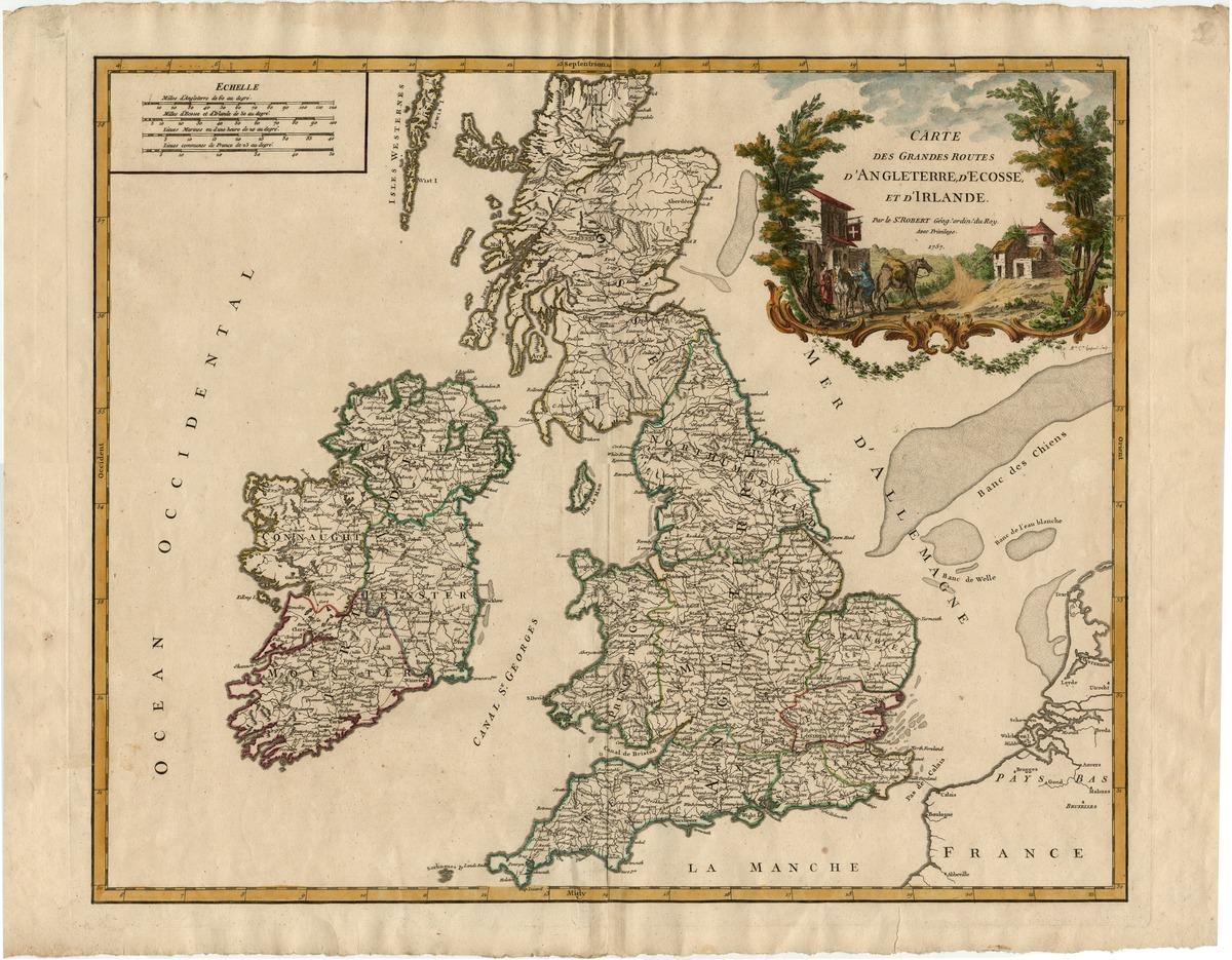 Carte des grandes routes d'Angleterre, d'Écosse, et d'Irlande