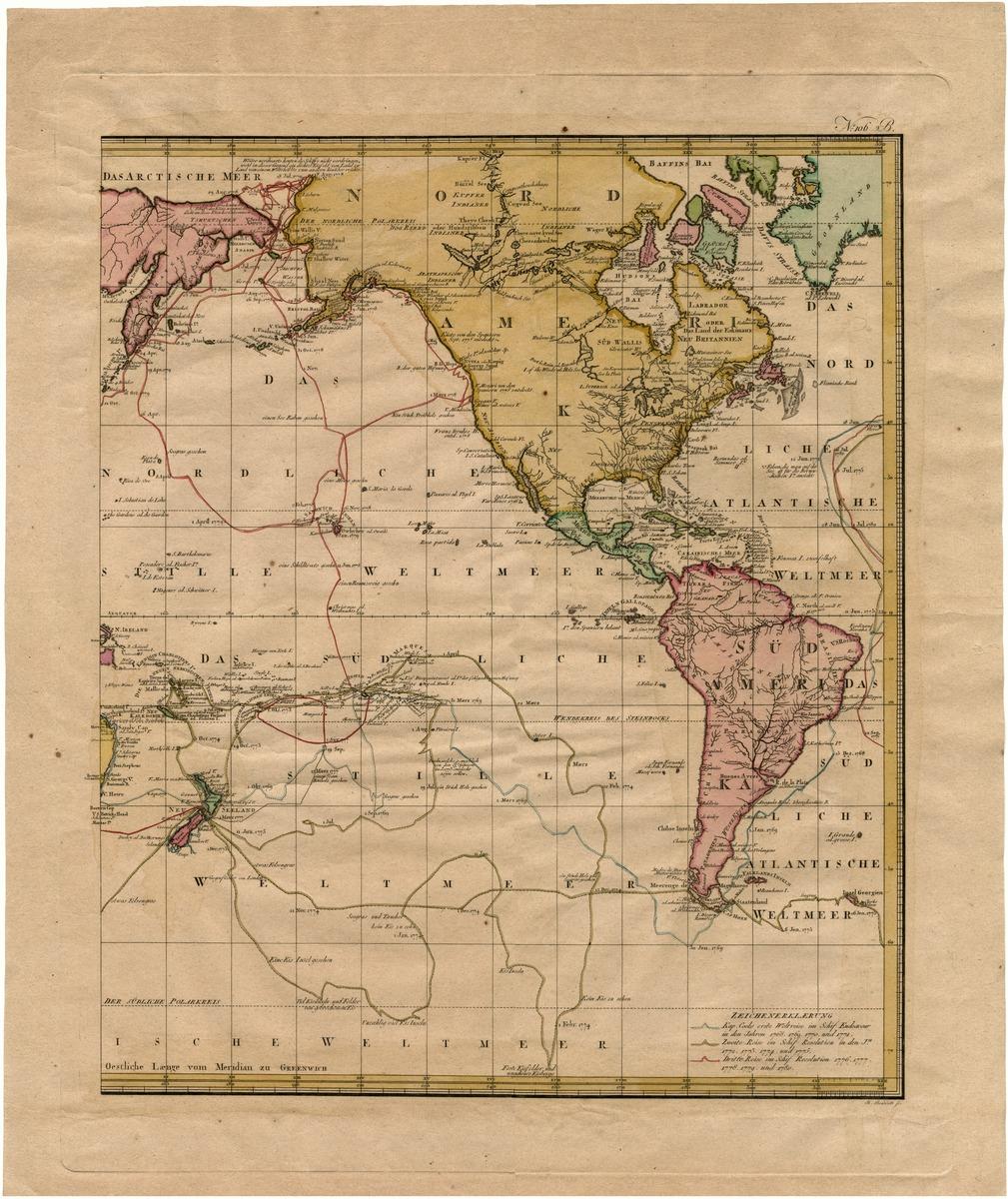 Generalkarte saemmtlicher Entdeckungen auf den drei grossen Weltreisen des Kapit Jakob Cook . . .