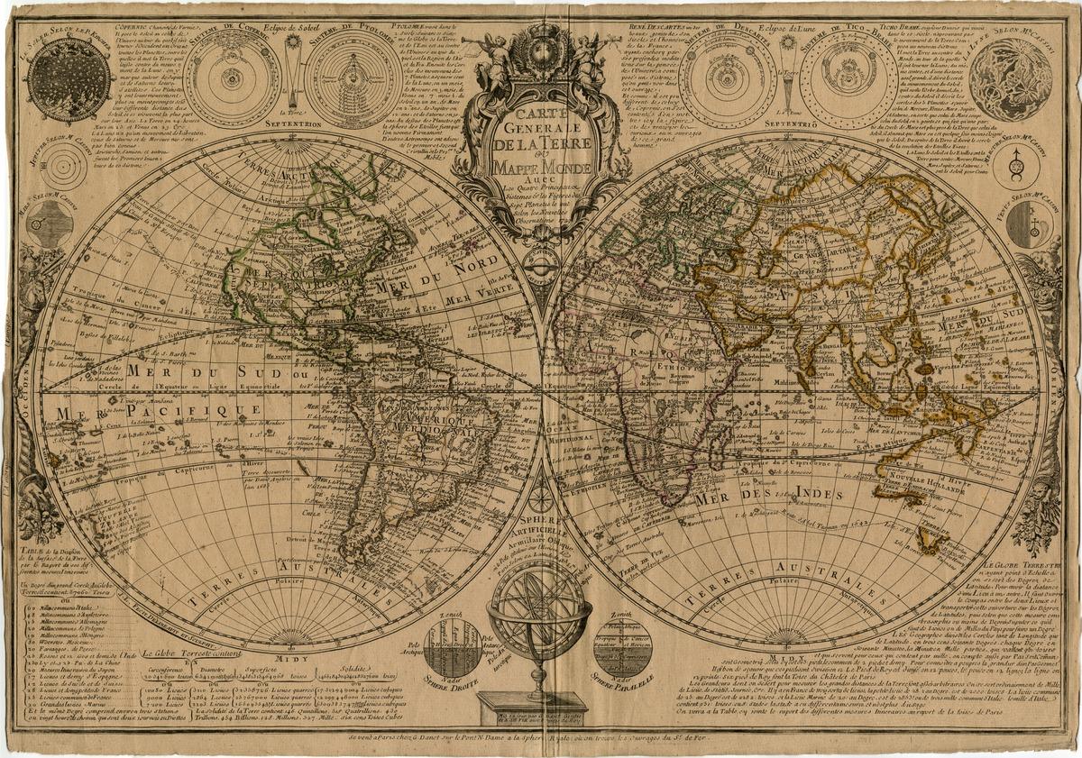 Carte generale de la terre ou mappe monde avec les quatres principaux sistèmes & les figures des sept planets, le tout selon les nouvelles observations, 1729