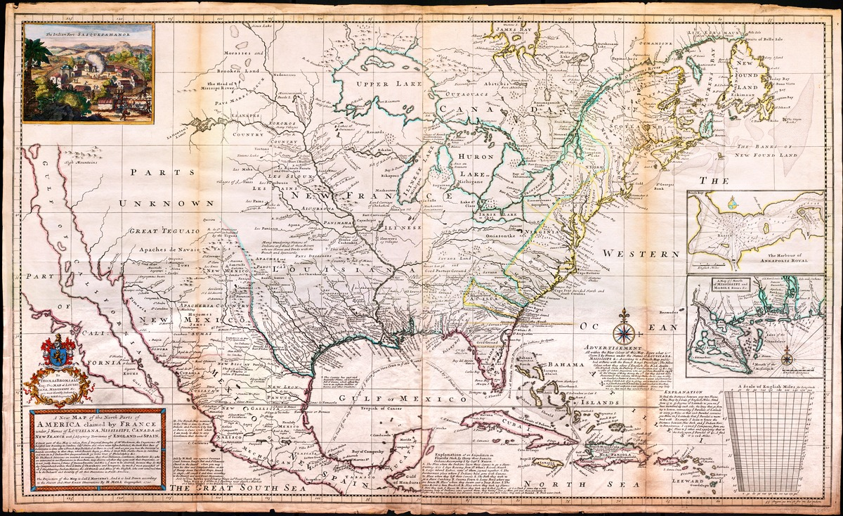 A new map of north parts of North America claimed by France under ye names of Louisiana, Mississippi, Canada and New France with ye adjoining territories of England and Spain
