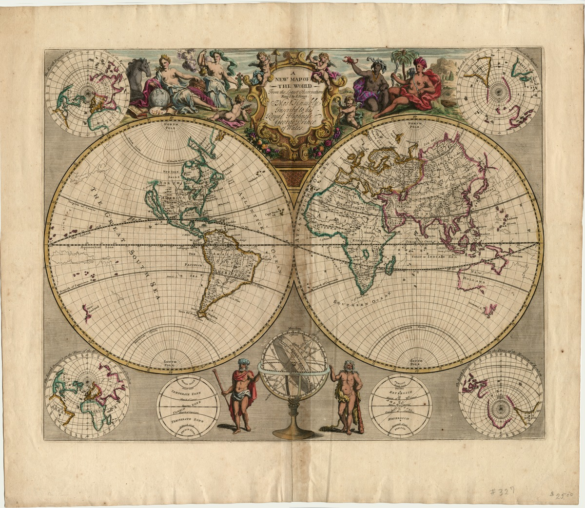 A new map of the world, from the latest observations. Revised by I. Senex. Most humbly inscribed to His Royal Highness George, Prince of Wales