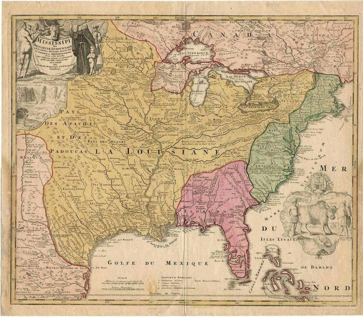 Amplissimae regionis Mississippi, seu Provinciae Ludoviciane à R.P. Ludovico Hennepin Francisc miss in America Septentrionali anno 1687. . .