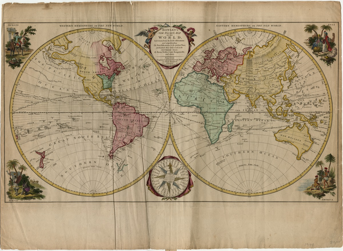 Bowles's New Pocket Map of the World, laid down from the latest observations and comprehending the new discoveries to the present time, particularly those lately made in the Southern Seas by Byron, Wallis, Cook, Bougainville, and others. Printed for the proprietor Carington Bowles . . . London, 15 May 1780