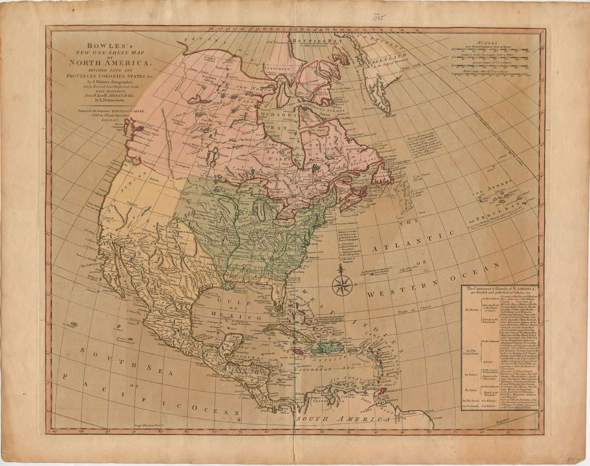Bowle's new one-sheet map of North America, divided into its provinces, colonies, states &c. by J. Palairet, geographer; lately revised and improved with many additions, from d'Anville, Mitchell, & Bellin, by L. Delarochette