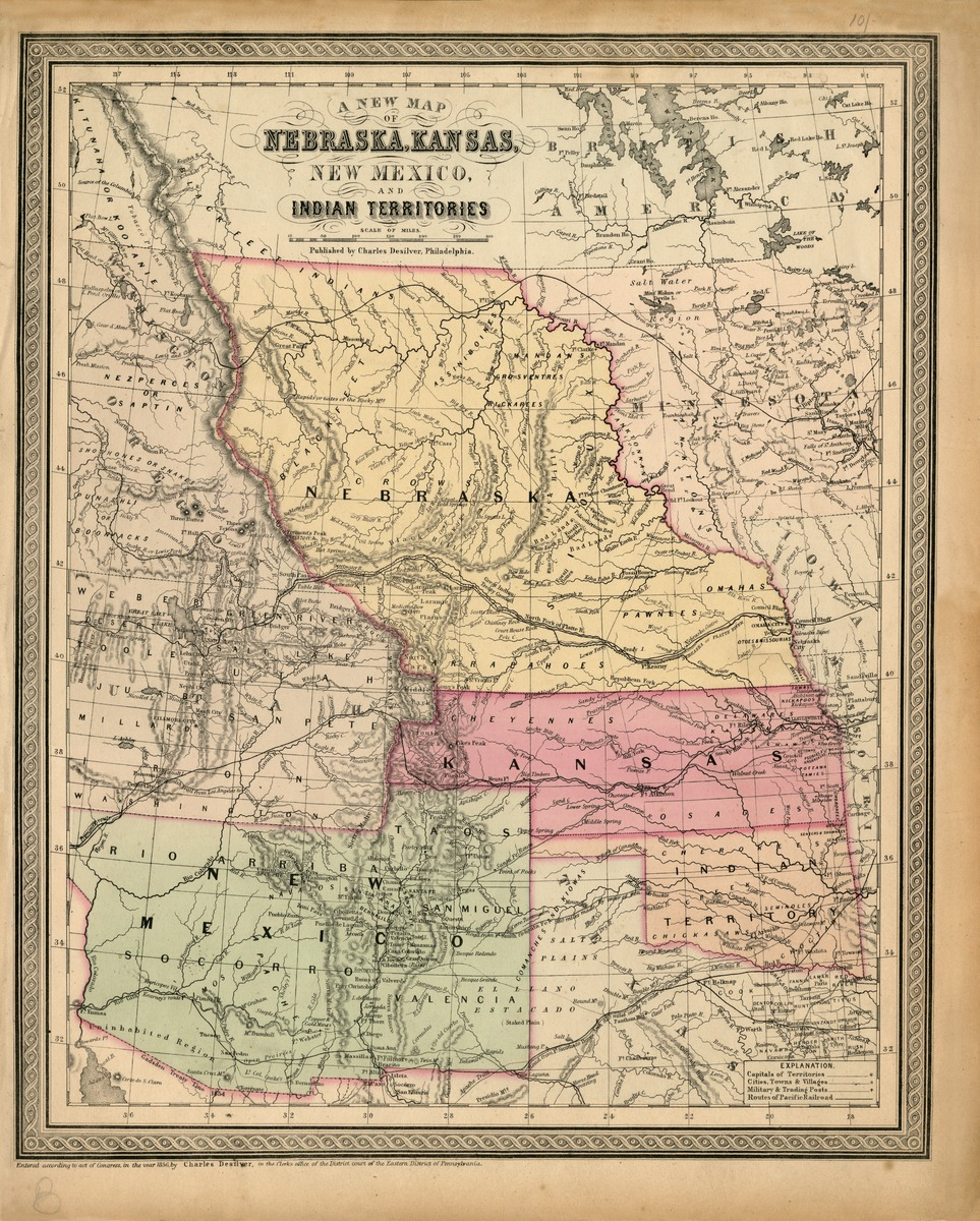 A new map of Nebraska, Kansas, New Mexico, and Indian Territories. Published by Charles Desilver, Philadelphia