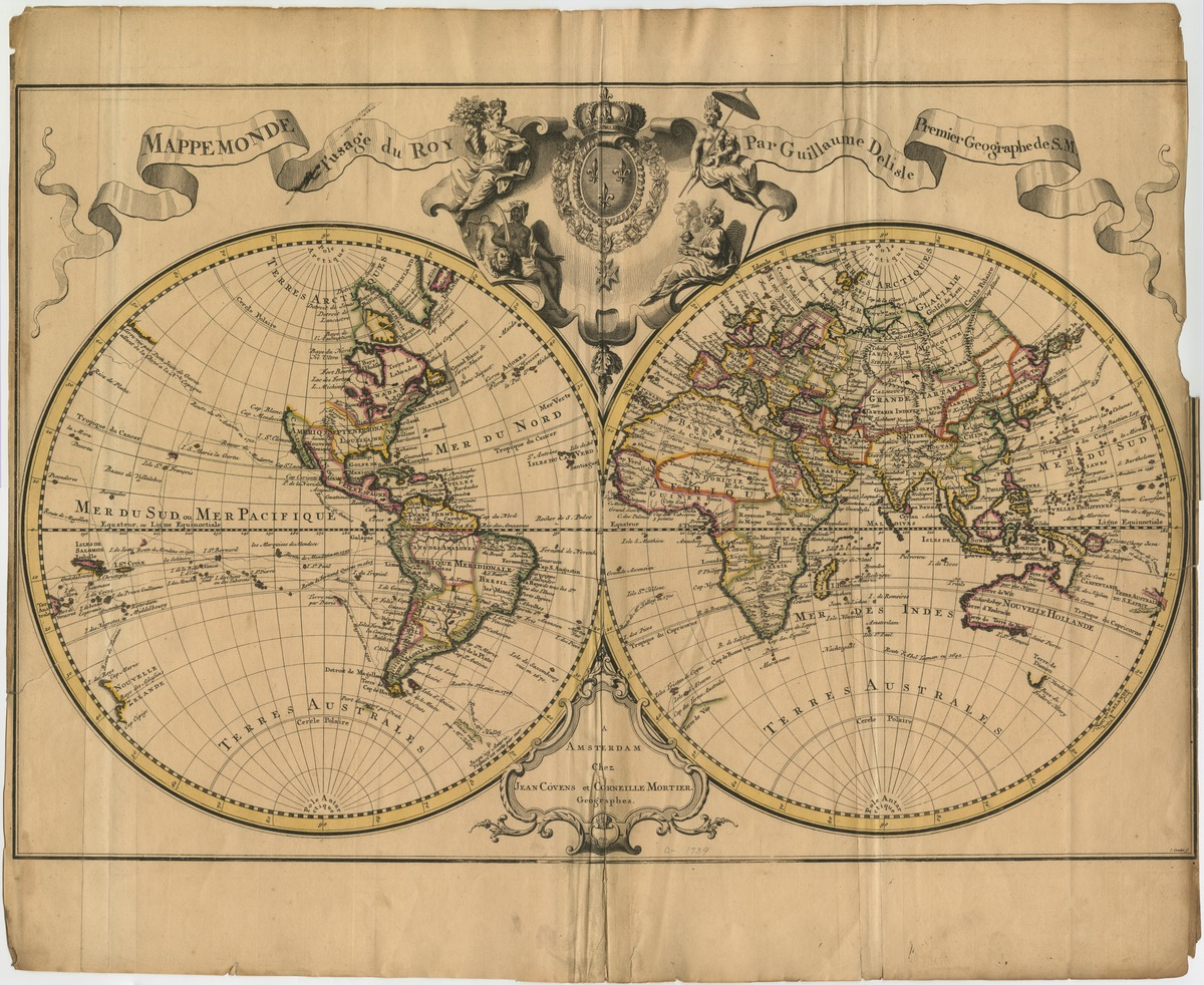 Mappemonde à l'usage du Roy, par Guillaume Delisle, Premier Geographe de S.M.