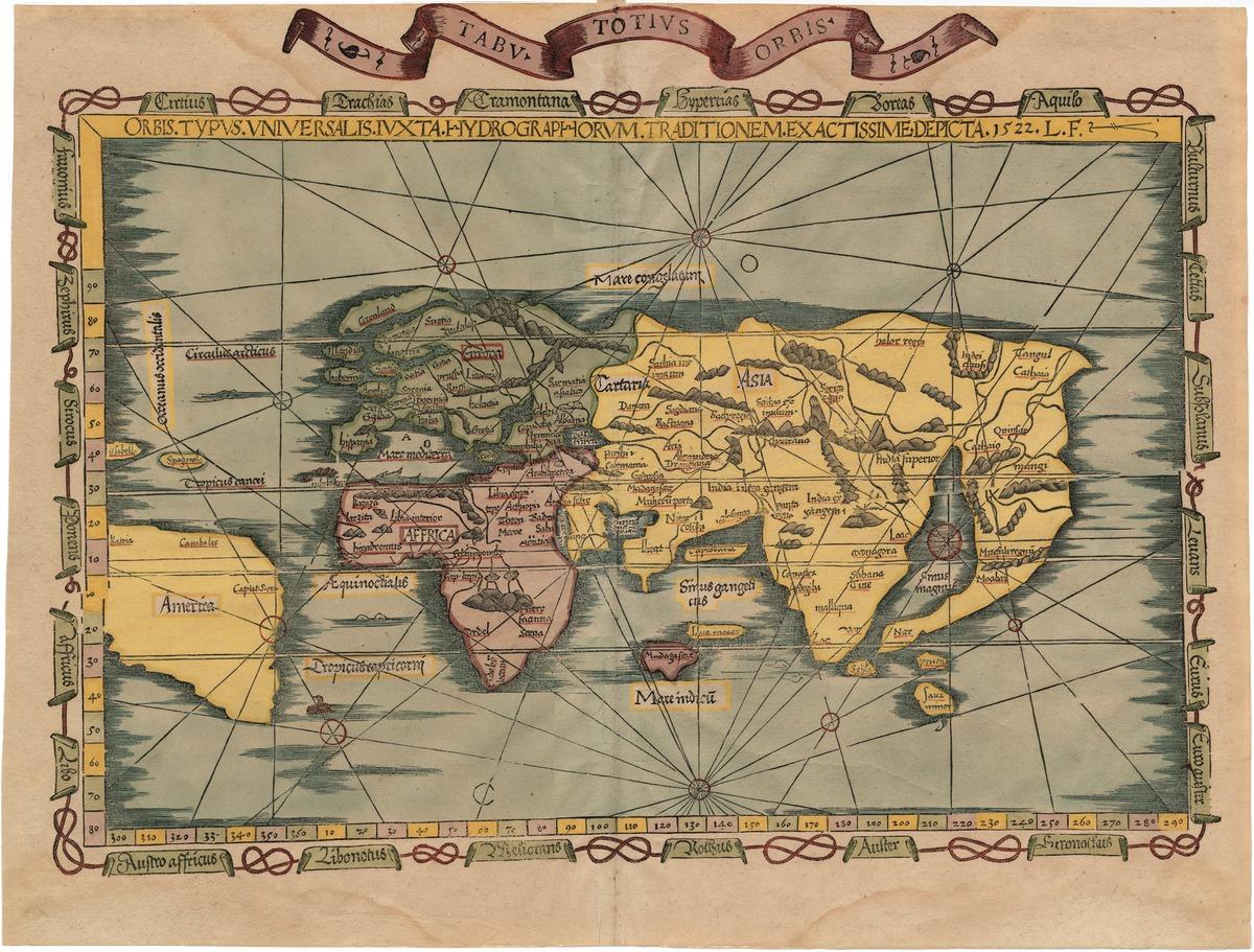 Tabu, totius orbis, orbis typus universalis iuxta hydrographorum traditionem exactissime depticta, 1522, L. F.
