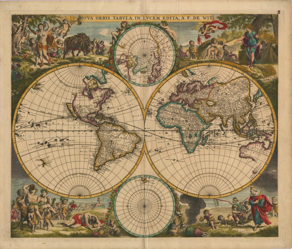 Вышивка старинная карта мира