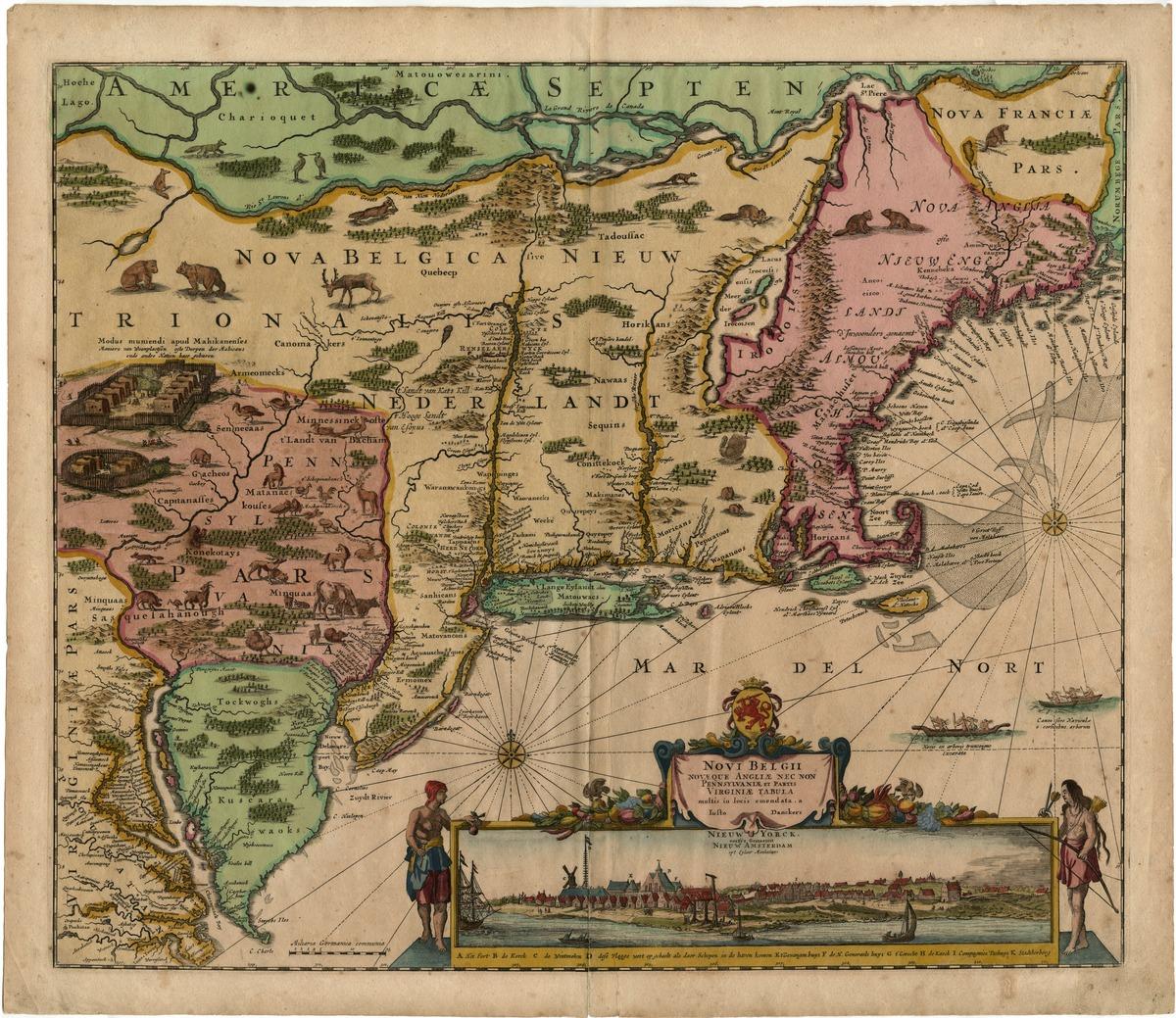 Novi Belgii novaeque Angliae nec non Pennsylvaniae et partis Virginiae tabula multis in locis emendata, a Iusto Danckers