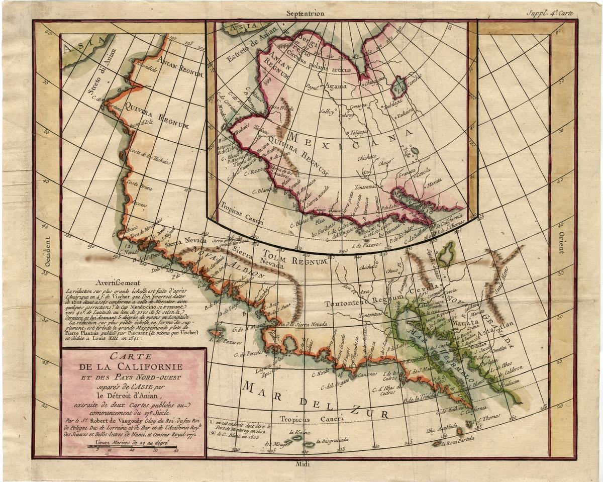 Carte de la Californie et des pays nord-ouest, separés de l'Asie par le Détroit d'Anian, extraite de deux cartes publiées au commencement du 17? siecle . . . .