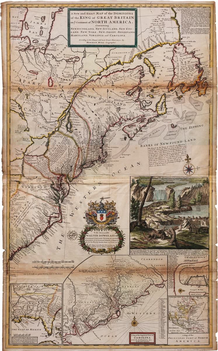 A new and exact map of the Dominons of the King of Great Britain on ye continent of North America, containing Newfoundland, New Scotland, New England, New York, and New Jersey, Pennsylvania, Maryland, Virginia and Carolina. . . . by Herman Mol geographer