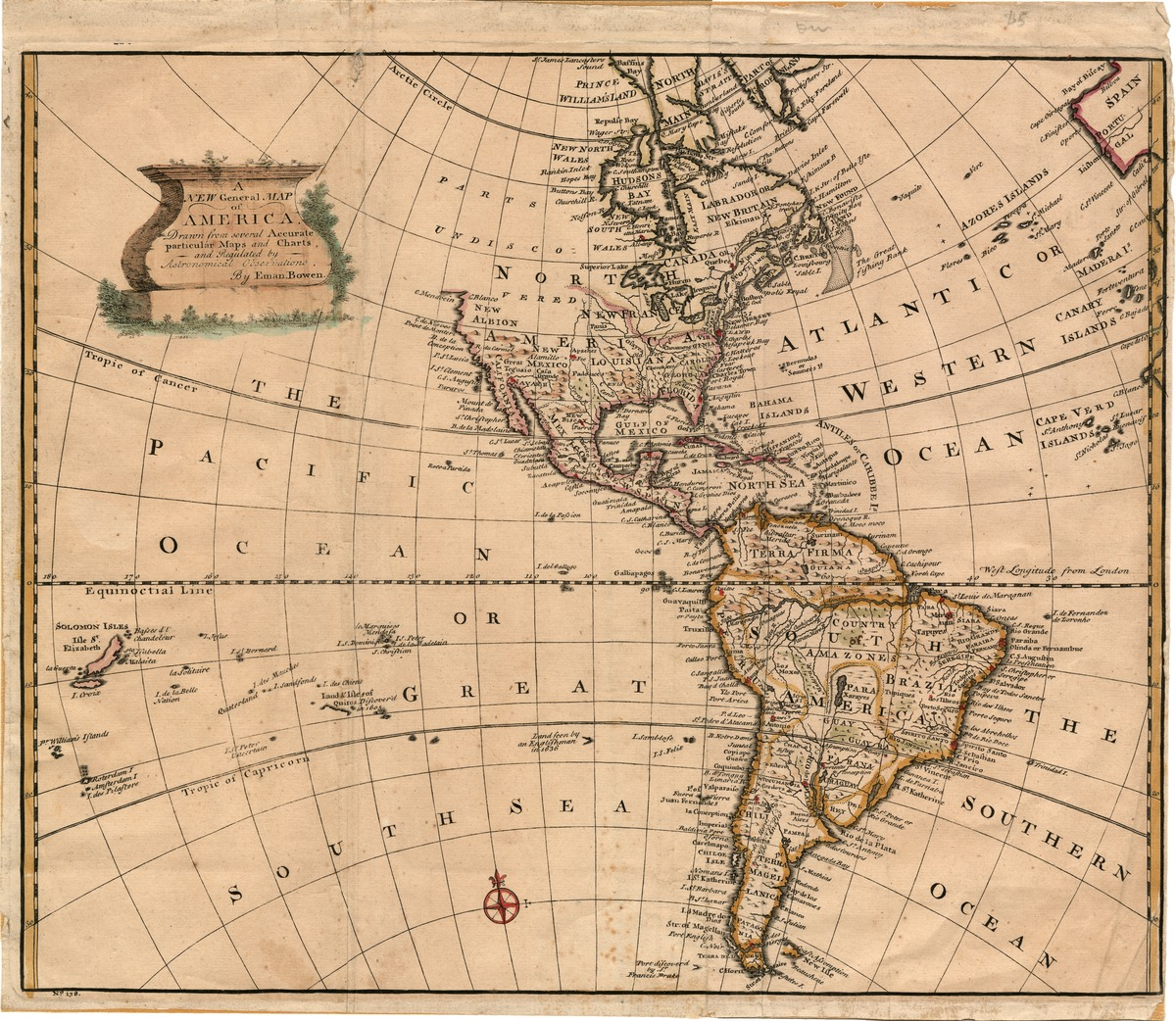 A new general map of America. Drawn from several accurate particular maps and charts, and regulated by astronomical observations