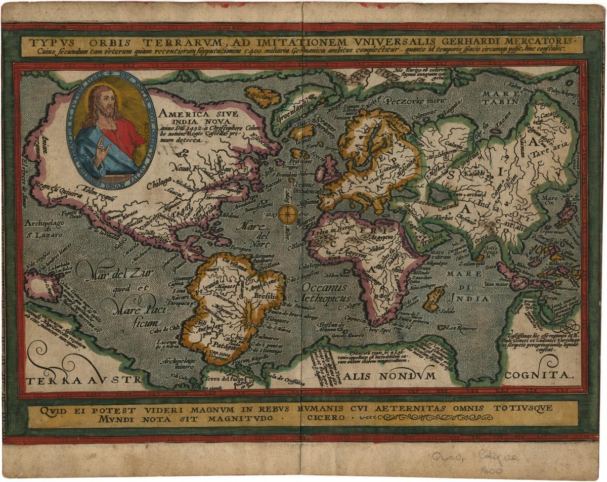 Typus orbis terrarum, ad imitationem universalis Gerhardi Mercatoris. Cuius secundum tam veterum quam recentiorum supputationem 5400 militaria Germanica ambitus complectitur...