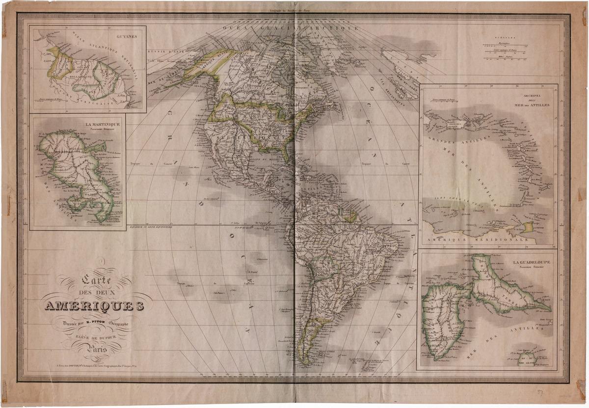 Carte des deux Amériques, dressée par E. Piton, géographe, élève de Dufour, Paris, 1837