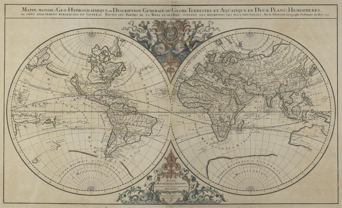 Mappe-monde, geo-hydrographique, ou description generale du globe terrestre et aquatique en deux-plans-hemispheres. Ou sont exactement remarquees en general toutes les parties de la terre et de l'eau suivant les relations les plus nouvelles. Par le Sr. Sanson, Geographe Ordinaire du Roy 1687.