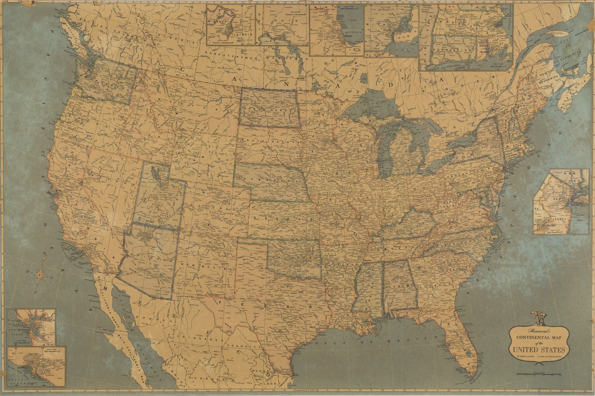 Hammonds Continental Map Of The United States - Map of the continental united states