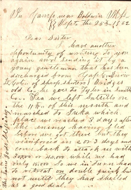 Letter: Love, Samuel B. (unsigned) to Sister (Tea)