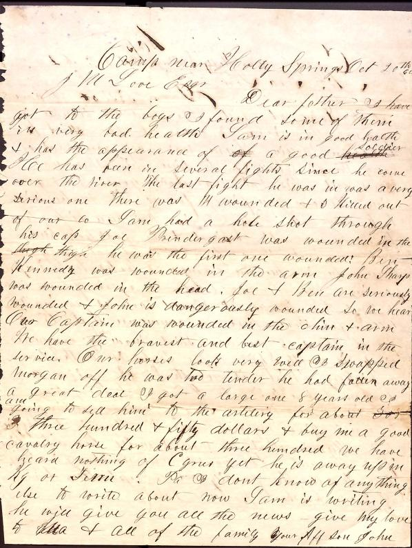 Letter: Love, John W. to JM Love (father); Love, John W. to Miss Tea Love (sister)