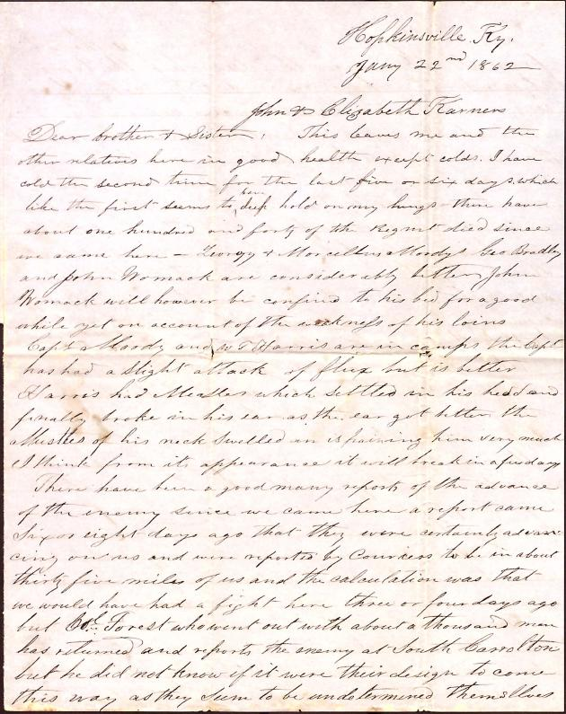 Letter: Love, Cyrus W. to John and Elizabeth Karnes (brother-in-law and sister)