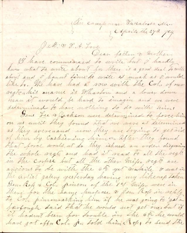 Letter: Love, Samuel B. to J.M. & T.A. Love (parents)