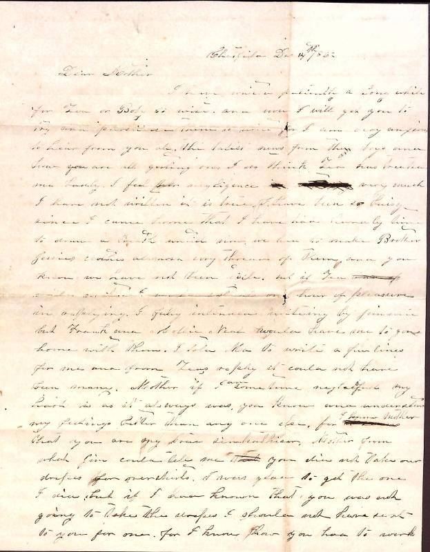 Letter: Love, Fannie to Mother