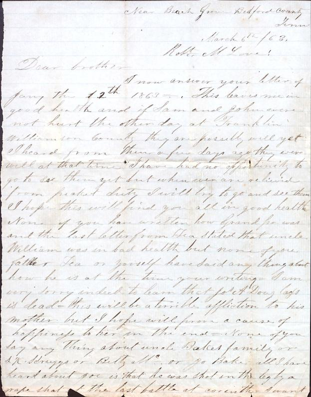 Letter: Love, Cyrus W. to Robt. M. Love (brother)