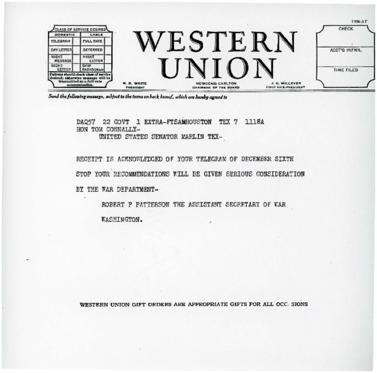 Telegram to Tom Connally from Robert P  Patterson