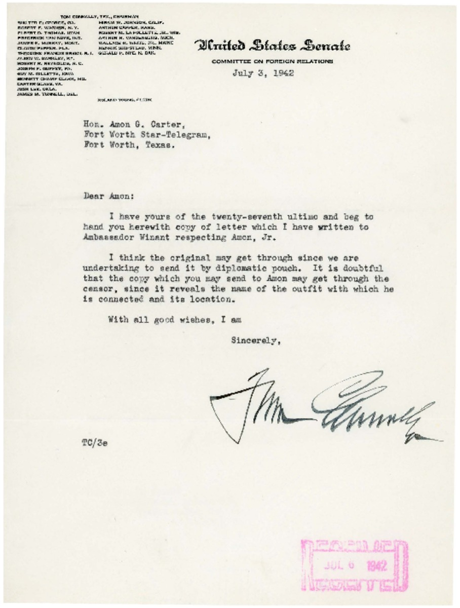 Letter to Amon Giles Carter Sr  from Tom Connally