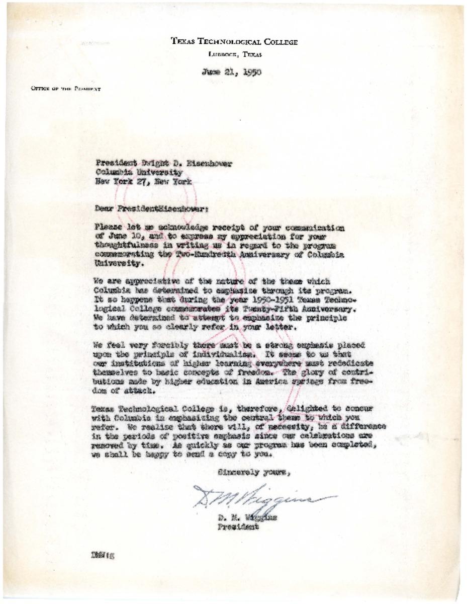 Columbia Acceptance Letter.Letter Re Columbia University Bicentennial