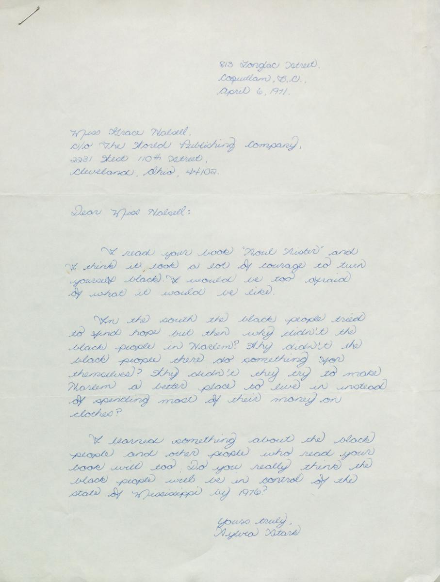 fan letter to Halsell for Soul Sister
