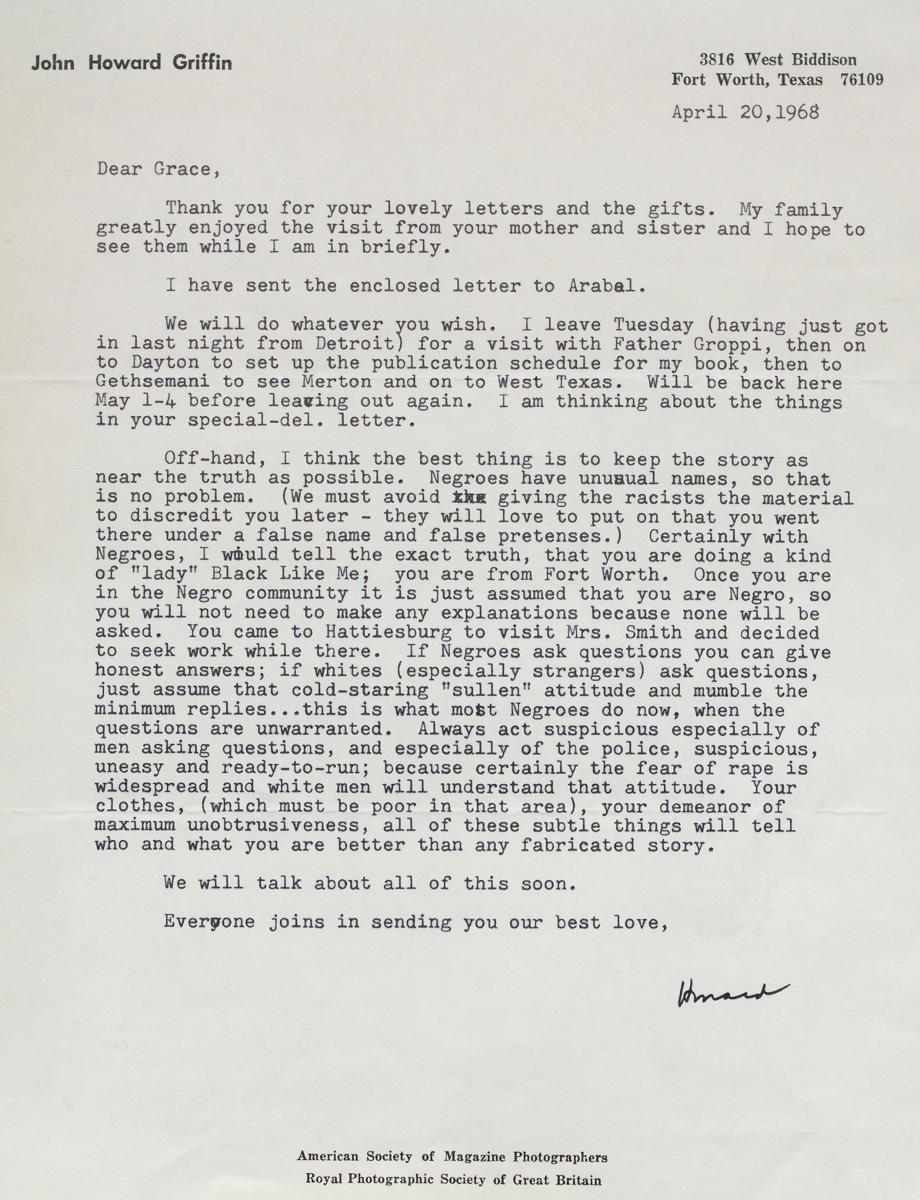 Letter from author John Howard Griffin to Grace Halsell